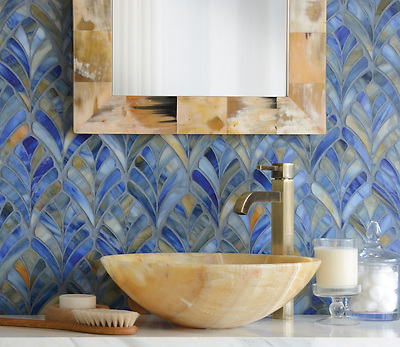 Margot, a jewel glass waterjet mosaic, is shown in Blue Onyx. (Sara Baldwin)