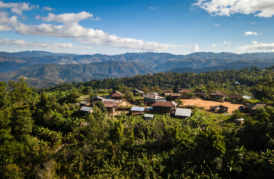 KYAING TONG, MYANMAR - CIRCA DECEMBER 2017: Aerial view of the Naung Cho Wa Village of near Kyaing Tong in Myanmar (Daniel Korzeniewski)