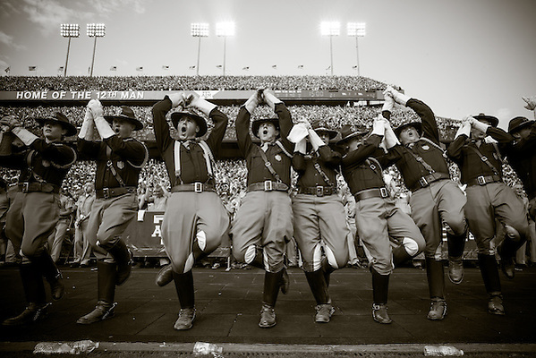 COLLEGE STATION, TX - SEPTEMBER 14: Texas A&M Corps of Cadets during fight song, Alabama at Texas A&M, photographed at Kyle Field in College Station, Texas on September 14 2013. Photograph © 2013 Darren Carroll (Darren Carroll)