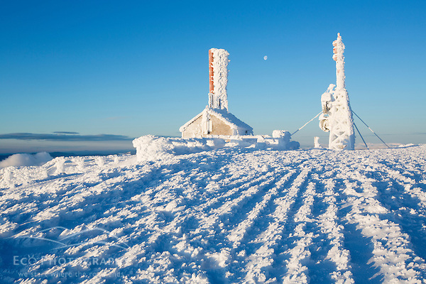 Radio towers covered in rime ice on the summit of New Hampshire's Mount Washington. (Jerry Monkman)
