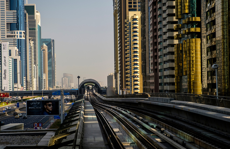 UNITED ARAB EMIRATES, DUBAI - CIRCA JANUARY 2017: Dubai Metro over the Sheikh Zayed Road. This is the main artery of the city and is home for most of the Dubai skyscrapers. (Daniel Korzeniewski)