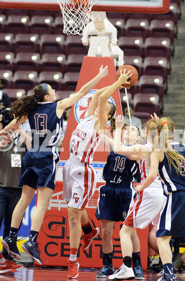 SOHARA19P Cumberland Valley's Morgan Baughman #24 grabs a rebound as Cardinal O'Hara's Mary Sheehan #13 and Mackenzie Gardler #14 defend in the second quarter of the girls basketball PIAA Class AAAA state championship game Friday March 18, 2016 at the Giant Center in Hershey, Pennsylvania. (WILLIAM THOMAS CAIN/For The Inquirer) (William Thomas Cain/Cain Images)