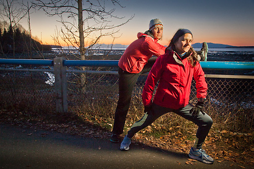 Katie Greenhalgh and martha Oativeros, Tony Knowles Coastal Trail, Anchorage, Alaska (Clark James Mishler)