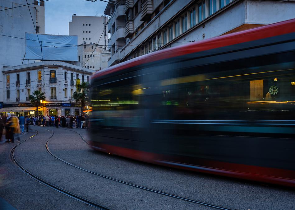 CASABLANCA, MOROCCO - CIRCA APRIL 2017: Tramway in Boulevard Mohammed V  in Casablanca (Daniel Korzeniewski)