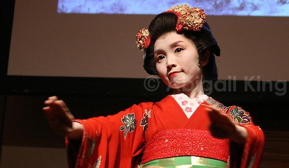 A Maiko girl performs in Sendai, Tohoku, Japan