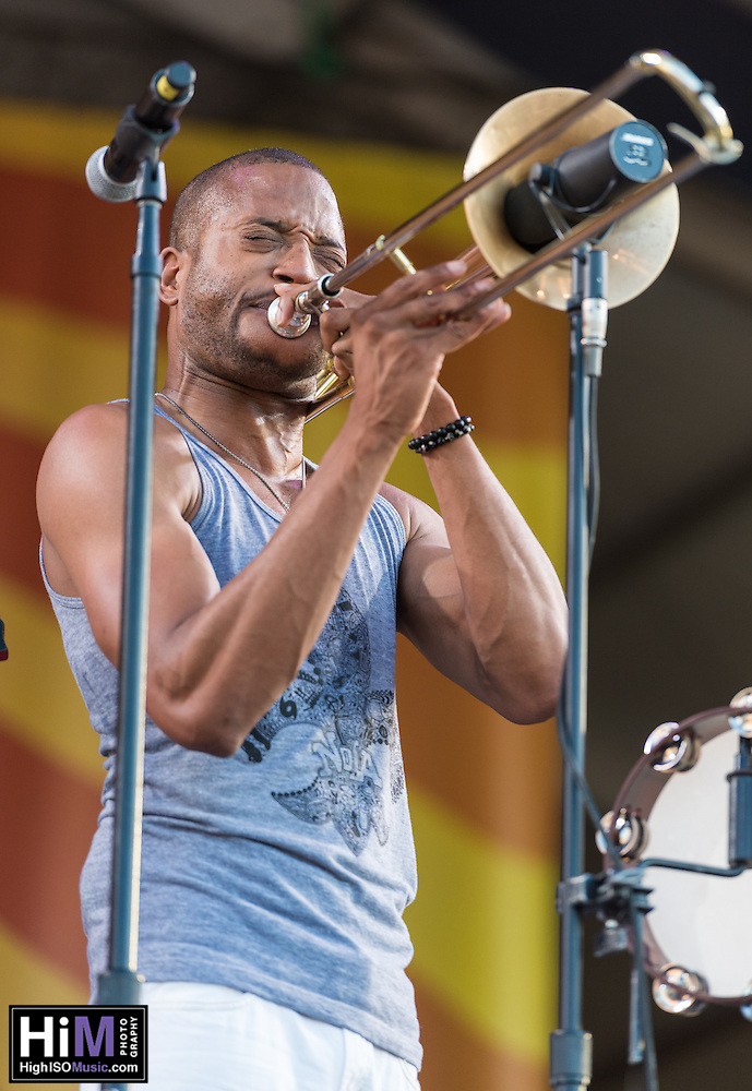 Trombone Shorty performs at Jazz Fest 2014 in New Orleans, LA on Day 7. (HIGH ISO Music, LLC)