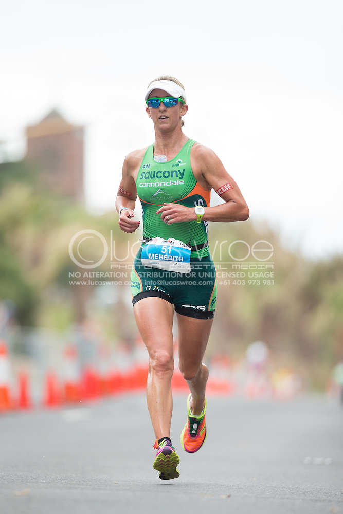 Meredith KESSLER (USA) On The Run Course. Ironman Asia Pacific Championship Melbourne. Triathlon. Frankston And St Kilda, Melbourne, Victoria, Australia. 24/03/2013. Photo By Lucas Wroe (Lucas Wroe)