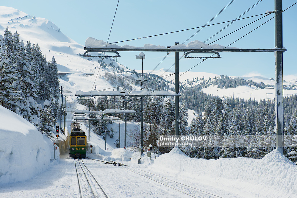 GRINDELWALD, SWITZERLAND – MARCH 07, 2009: Wengernalpbahn train approaches station in Grindelwald, Switzerland. Grindelwald area is a famous ski resort in Switzerland. (Dmitry Chulov)