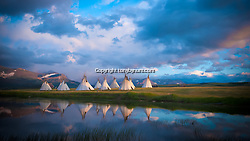 iGlacier Park Gifts - Photography - Indian tepee village camp on lake near glacier park, blackfeet reservation (Tony Bynum/tonybynum.com)