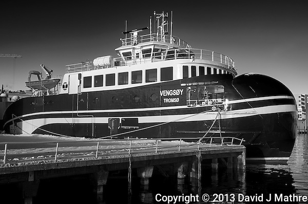 Vensøy -- passenger/Ro-Ro cargo ship docked in Tromsø, Norway. Image taken with a Leica X2 camera (ISO 100, 24 mm, f/5.6, 1/250 sec). Raw image processed with Capture One Pro (including conversion to B&W). (David J Mathre)