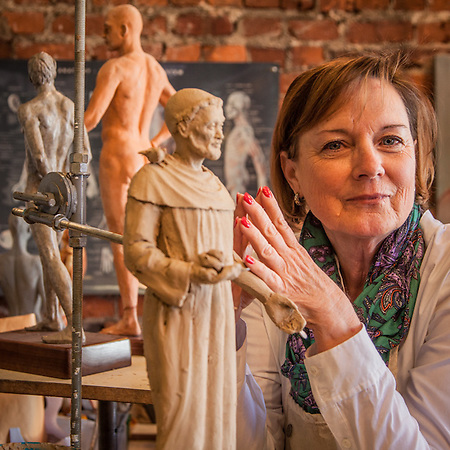 "Sculptor, Susie Chisholm, Savannah, GA.  ""All my pieces start out naked.""  suegchisholm@aol.com (© Clark James Mishler)"