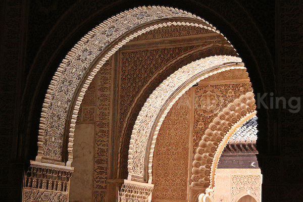 Arches inside the Alhambra in Granada