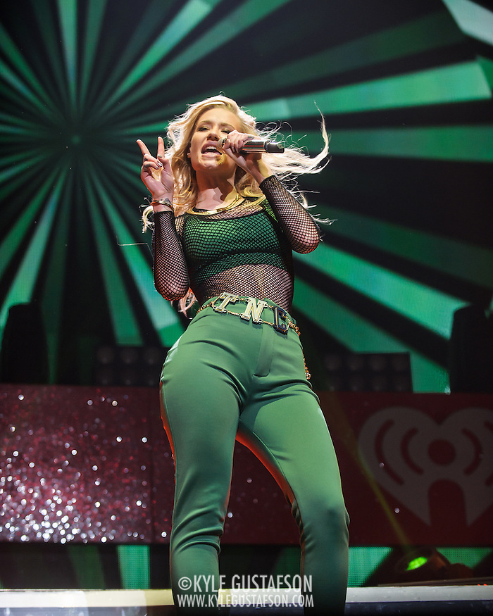 "WASHINGTON, DC - December 15th, 2014 - Iggy Azalea  performs onstage during HOT 99.5's Jingle Ball 2014 at the Verizon Center in Washington, D.C. Her single ""Fancy"" reached number one on the Billboard Hot 100. (Photo By Kyle Gustafson / For The Washington Post) (Kyle Gustafson/For The Washington Post)"