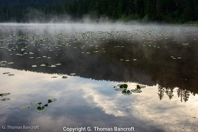 The mist was rising from the left side of the lake and drifting across the lake.  The morning clouds were wispy and delicate.  The tranquil setting inspired me for the days hike. (G. Thomas Bancroft)