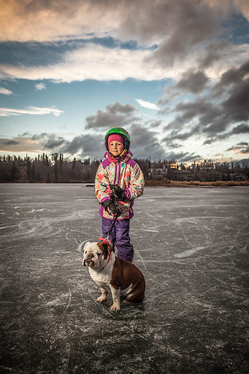 Sarah Rea with her English Bull Dog, Nellie, at Westchester Lagoon, Anchorage.  Grandmother: Kris Selman  kris@gci.net (© Clark James Mishler)