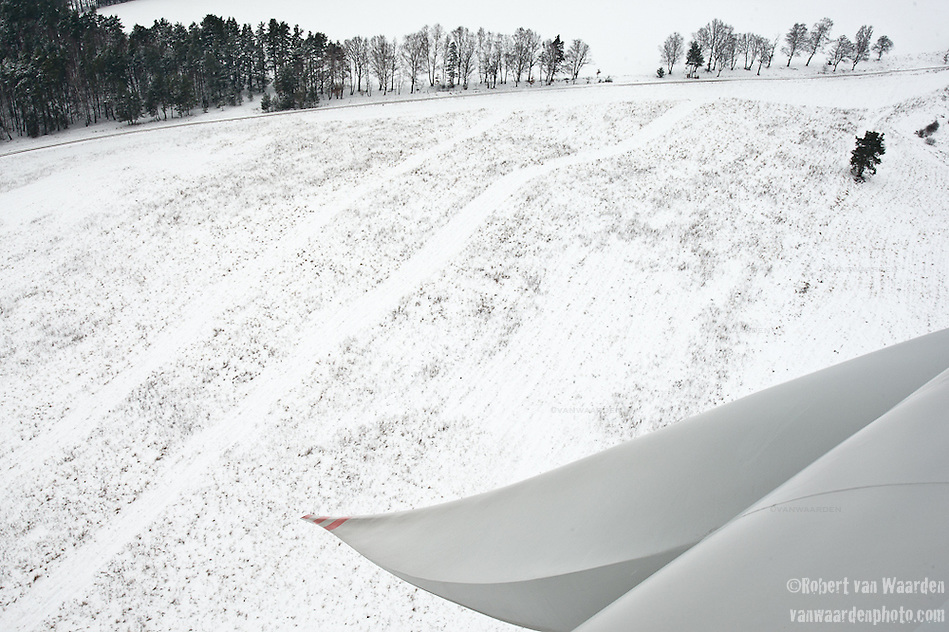 A snow covered field seen from a wind turbine in Kobylnica, Poland. (Robert van Waarden)