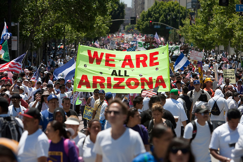 Tens of thousands of demonstrators took to the streets of Los Angeles on May 1, 2010 to protest against the new Arizona law, SB 1070, that created strict immigration laws against the undocumented. (Todd Bigelow)