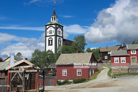 Traditional houses and church bell tower exterior of the copper mines town of Roros, Norway. Roros is declared a UNESCO World Heritage site. (Dmitry Chulov)