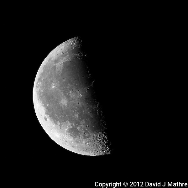 Last Quarter Moon, Late Fall in New Jersey. Image taken with a Nikon 1 V1 camera, FT1 adapter, and 500 mm f/4 VR lens (ISO 100, 500 mm, f/4, 1/500 sec). (David J Mathre)