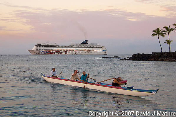 Hawaiian Outrigger Canoe and Cruise Liner Early Morning on Kona Bay. Image taken with a Nikon D2xs and 12-24 mm f/4 lens (ISO 100, 24 mm, f/4, 1/250 sec). (David J Mathre)