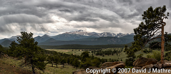 Springtime storm clouds over Rocky Mountain National Park. Composite of two images taken with a Nikon D2xs camera and 17-55 mm f/2.8 lens (ISO 100, 17 mm, f/6, 1/250 sec). (David J Mathre)