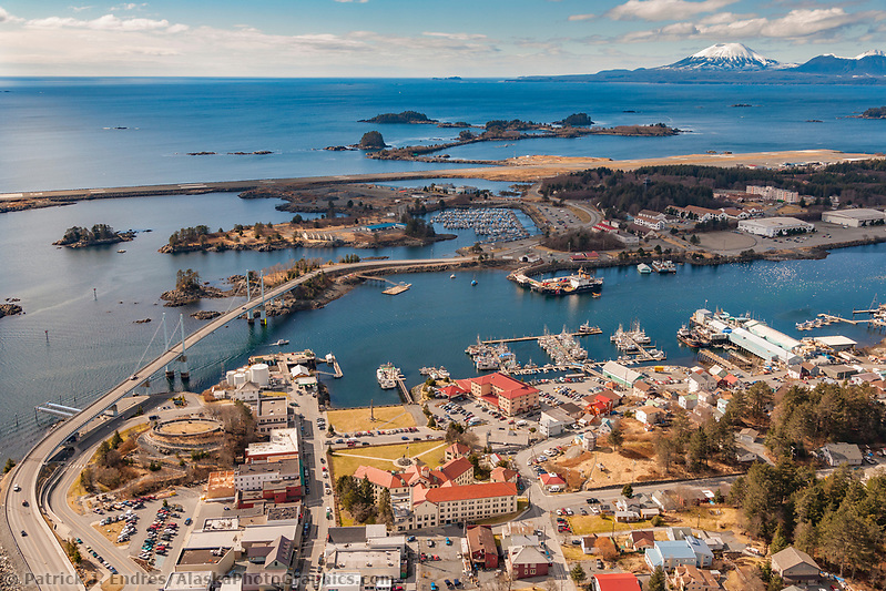 Aerial of downtown Sitka, overlooking Sitka Sound and the O'Connell bridge that joins Baranof Island with Japonski island, Southeast, Alaska. (Patrick J. Endres / AlaskaPhotoGraphics.com)