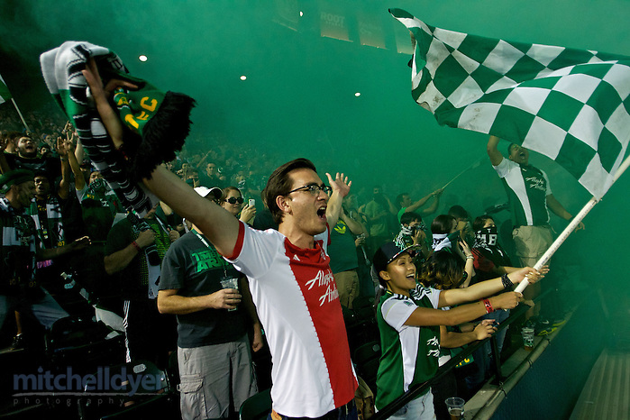 September 16, 2014; Portland, OR, USA; The Timbers Army celebrates after a goal in the first half during group play of the CONCACAF Champions League at Providence Park. Photo: Craig Mitchelldyer-CONCACAF (Craig Mitchelldyer)