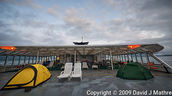 Early Morning, Tents on the Solarium Deck. Image taken with a Nikon D3x camera and 14-24 mm f/2.8 lens. (David J Mathre)