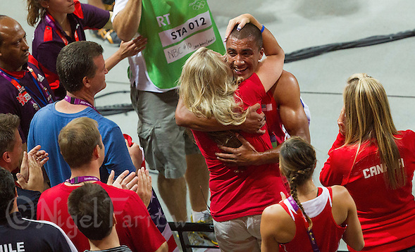 09 AUG 2012 - LONDON, GBR - Ashton Eaton (USA) (top right) of the USA  celebrates winning the Decathlon during the London 2012 Olympic Games athletics at the Olympic Stadium in Stratford, London, Great Britain (PHOTO (C) 2012 NIGEL FARROW) (NIGEL FARROW/(C) 2012 NIGEL FARROW)