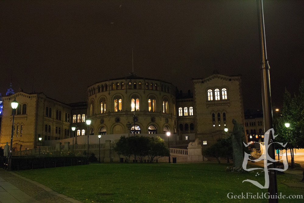 Another shot of the Stortinget at night. (Warren Schultz)