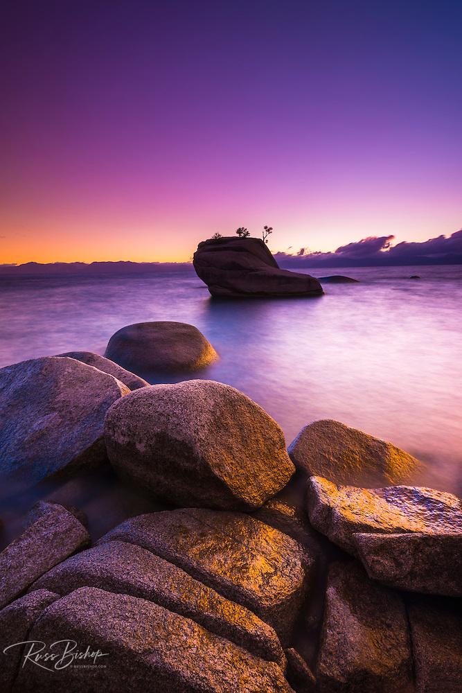 Bonsai Rock at sunset, Lake Tahoe, Nevada