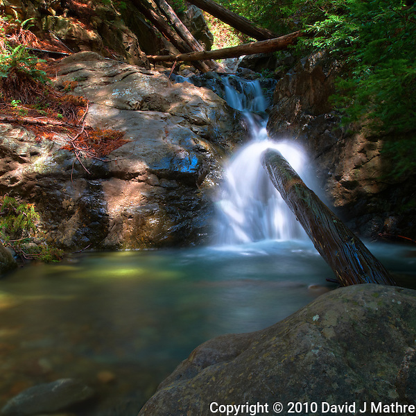 Redwood Gulch Waterfall, HDR Exercise. Image(s) taken with a Nikon D3x and 24 mm f/3.5 PC-E lens Singh-Ray filters (ISO 100, 24 mm, f/16, 2.5 to 30 sec). Raw image processed with Capture One Pro, HDR Express: Optimal. (David J Mathre)