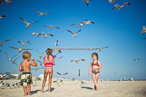 Children feed sea gulls on the beach. (Beth Hall)