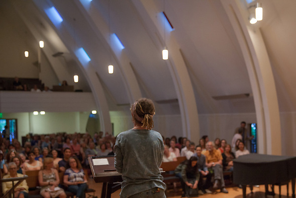 "Anne Lamott discusses her new book ""Hallelujah Anyway"" at Montclair Presbyterian Church in Oakland, California. Local bookstore A Great Good Place for Books hosted the event Tuesday May 2, 2017. (bryan farley)"