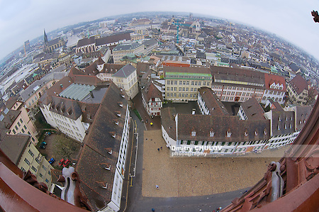 Wide angle aerial view to Basel city from Munster tower on a rainy day in Basel, Switzerland. (Dmitry Chulov)
