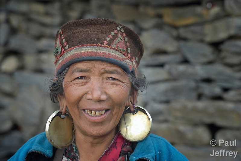 A woman in the village of Gatlang, in the Rasuwa District of Nepal near the country's border with Tibet. (Paul Jeffrey)