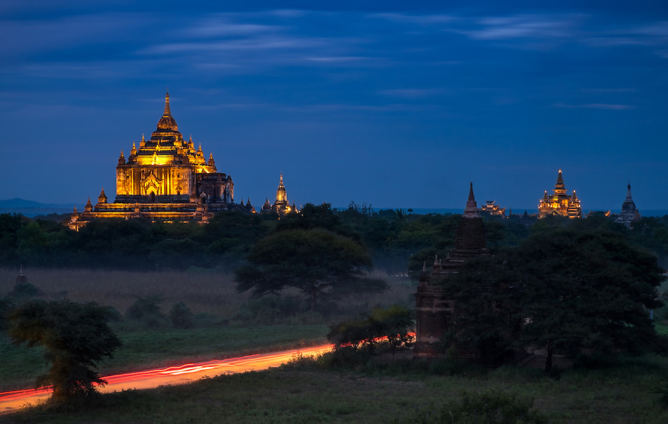 View of the Thatbyinnyu Temple at twilight in Bagan, this is the tallest of all temples and it was built in 1144 (Daniel Korzeniewski)