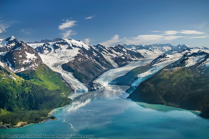 Aerial of the Chugach mountains and Barry, Coxe and Cascade glaciers which meet in Barry Arm, Prince William Sound, Alaska (Patrick J. Endres / AlaskaPhotoGraphics.com)