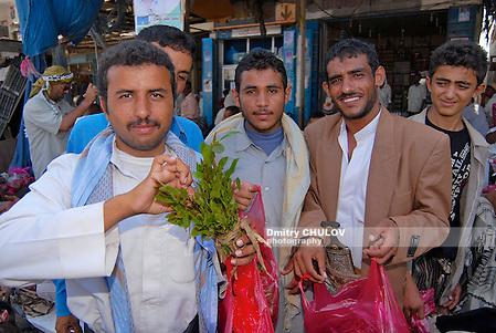 LAHIJ, YEMEN - SEPTEMBER 15, 2006: Men try khat (Catha edulis) at the local market in Lahij, Yemen. Chewing khat (drug of abuse) is a major social problem in Yemen. (Dmitry Chulov)