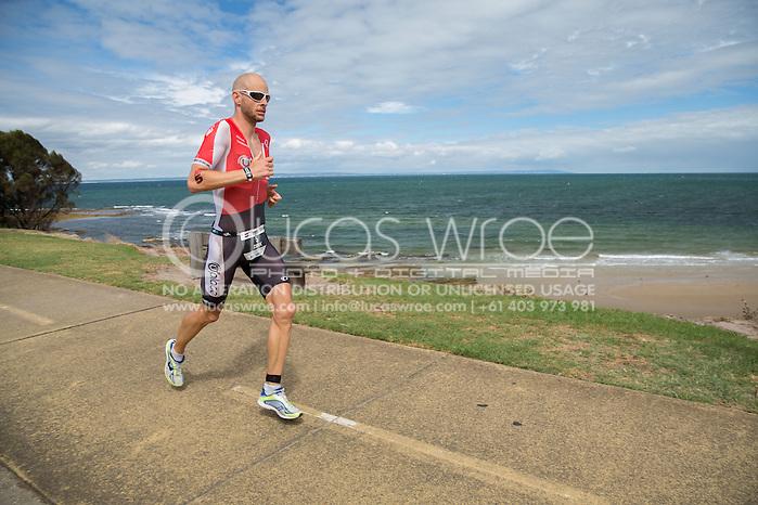 Dirk Bockel (LUX), March 23, 2014 - Ironman Triathlon : Run Course. Ironman Melbourne Race, Run Course Between Frankston And St Kilda, Melbourne, Victoria, Australia. Credit: Lucas Wroe (Lucas Wroe)