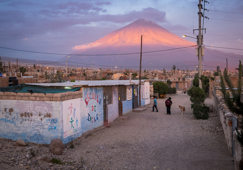 AREQUIPA, PERU - APRIL 7, 2014: View of the HOOP Peru school in the community of Flora Tristan. Hoop Peru is a NGO fully committed to breaking the cycle of poverty by empowering the Flora Tristan families through enhancing their education. (Daniel Korzeniewski)