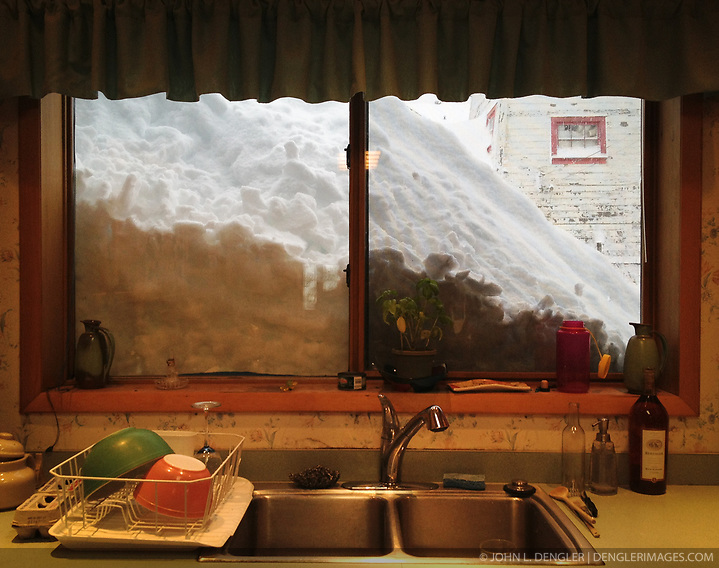 A huge snow drift looms outside the kitchen window at the Alaska Guardhouse bed and breakfast in Haines, Alaska after an early November blizzard. SPECIAL NOTE: iPhone photo (John L. Dengler)