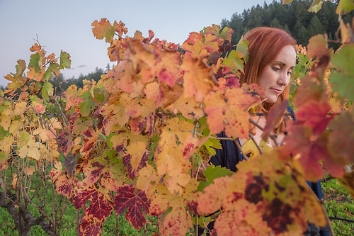 Cynthia Quispe blends into vineyard on her birthday near Saint Helena (Clark James Mishler)