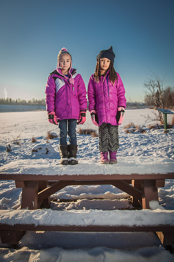 Seven year old cousins Damaiah & Bellomy at Margaret Sullivan Park, Anchorage. (© Clark James Mishler)