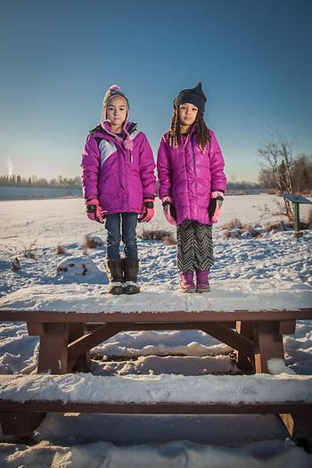 Seven year old cousins Damaiah & Bellomy at Margaret Sullivan Park, Anchorage. (© Clark James Mishler)