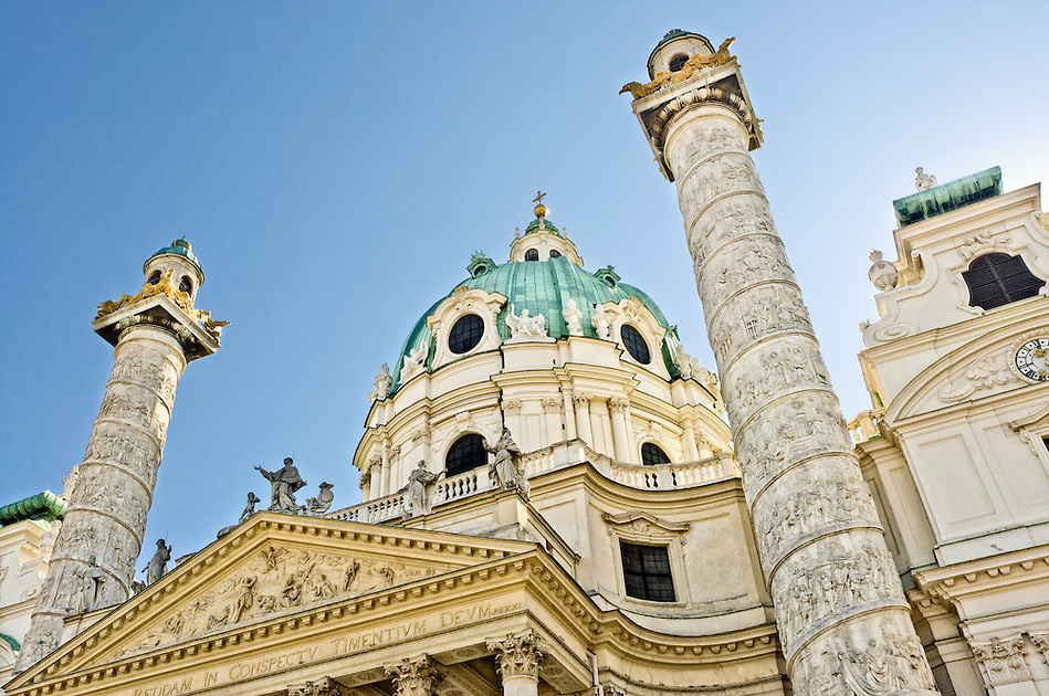 Detail of the Dome and pilars in St. Charles Church in Vienna. (Daniel Korzeniewski)