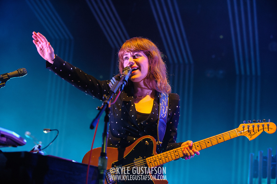COLUMBIA, MD - June 18th, 2013 - Jenny Lewis of the Postal Service performs at Merriweather Post Pavilion in Columbia, MD on their 10th Anniversary Give Up tour. (Photo by Kyle Gustafson) (Kyle Gustafson)