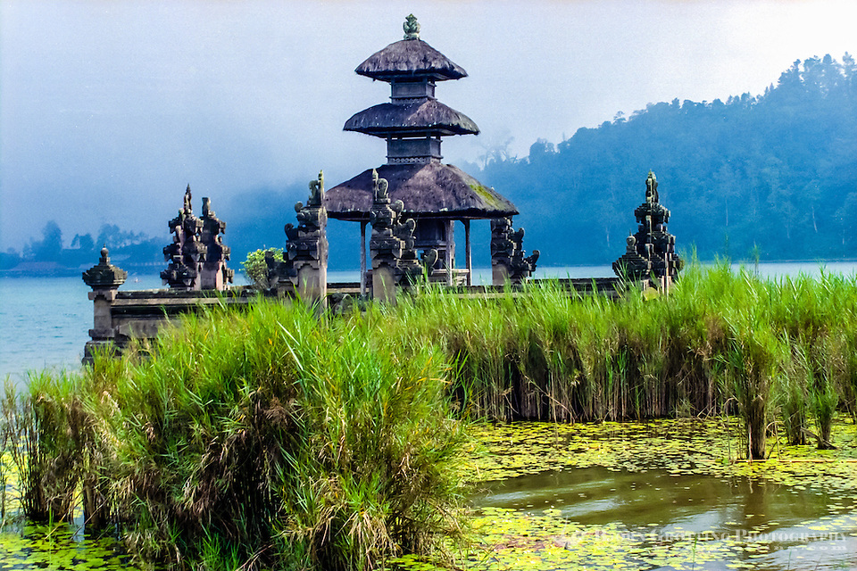 Bali, Tabanan, Bedugul. Parts of the Ulun Danu temple is built on the shores of the Bratan lake. This is a meru dedicated to Shiva. (Photo Bjorn Grotting)