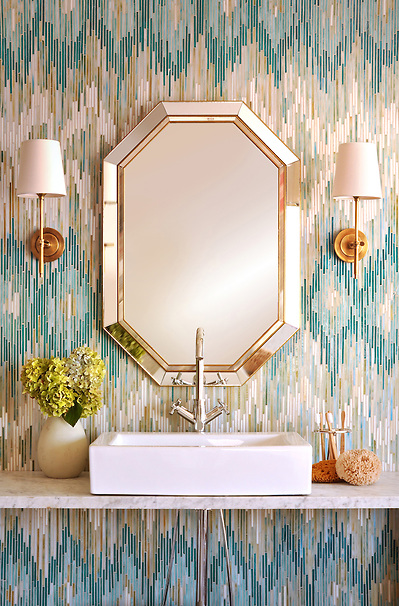 Loom, a jewel glass mosaic shown in Quartz, Aquamarine, Tanzanite and Turquoise, is part of the Ikat Collection by New Ravenna Mosaics. As seen in Coastal Living. (New Ravenna Mosaics 2011)