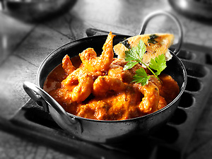 Prawn Makhani curry & rice, Indian food recipe  pictures, photos & images (By food photographer Paul Williams. http://www.funkyfood.co.uk)